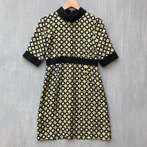 Milly silk shift dress geometric mod collar 6